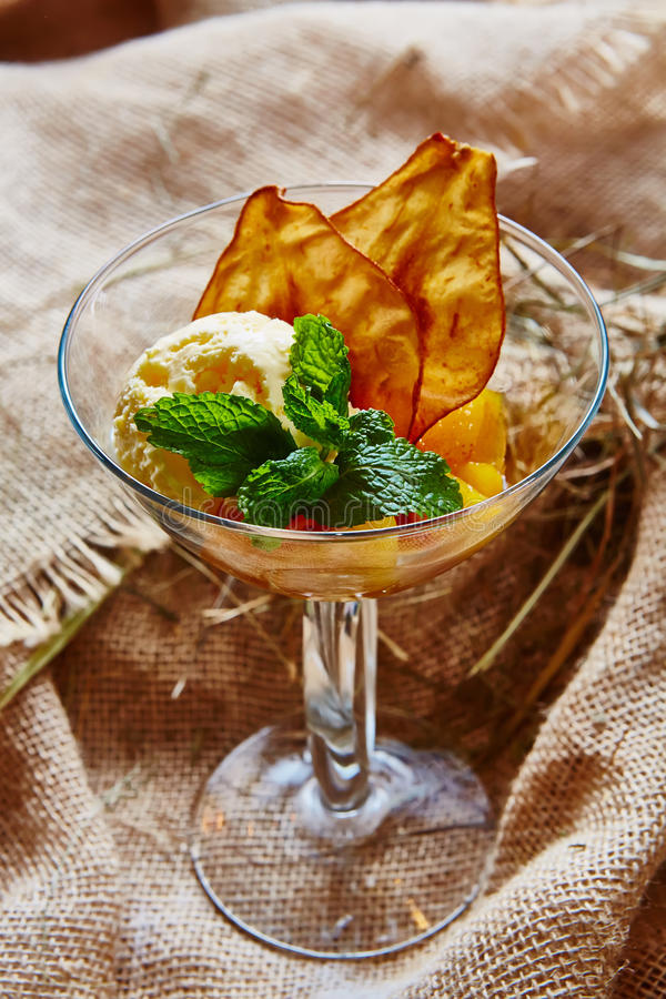 Homemade ice cream with mint stock images