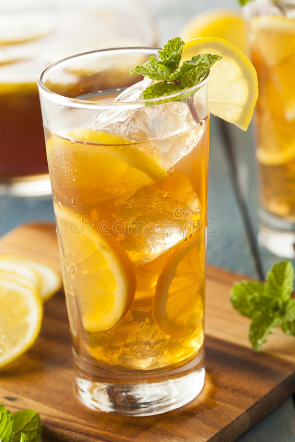 Homemade Iced Tea with Lemons royalty free stock images