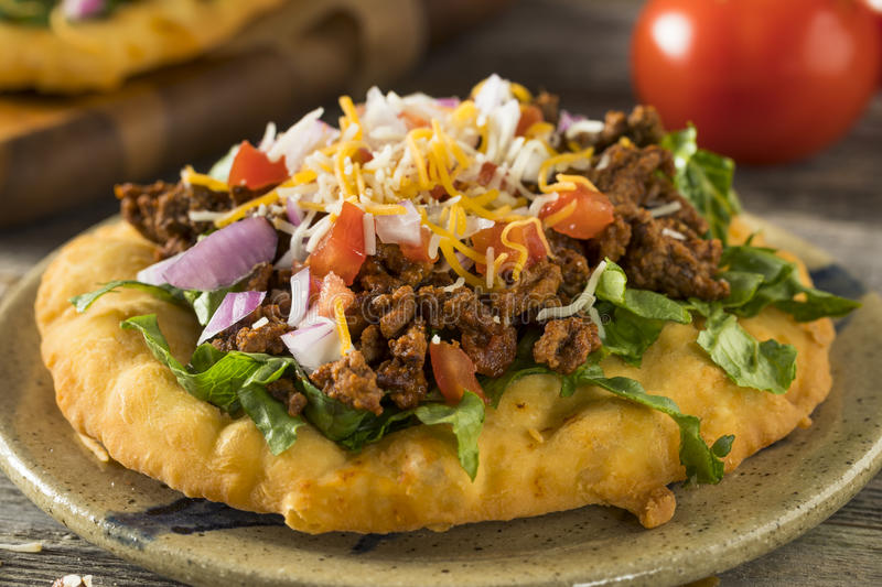 Homemade Indian Fry Bread Tacos stock image