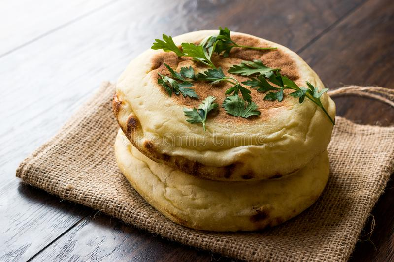 Homemade Indian Naan Flatbread with Whole Wheat. stock photos