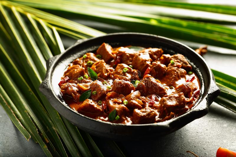Spicy,delicious, Indian lamb, mutton meat curry. Homemade Indian recipes- lamb,mutton curry roast ,slow cooked in clay pottery stock images