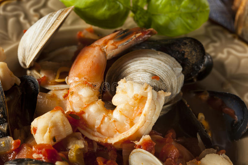 Homemade Italian Seafood Cioppino. With Mussels, Clams, and Shrimps stock photos