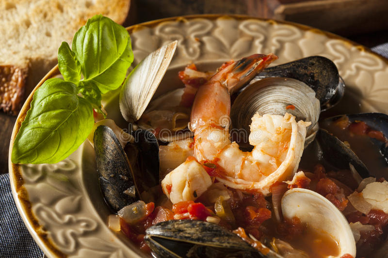 Homemade Italian Seafood Cioppino. With Mussels, Clams, and Shrimps stock photo