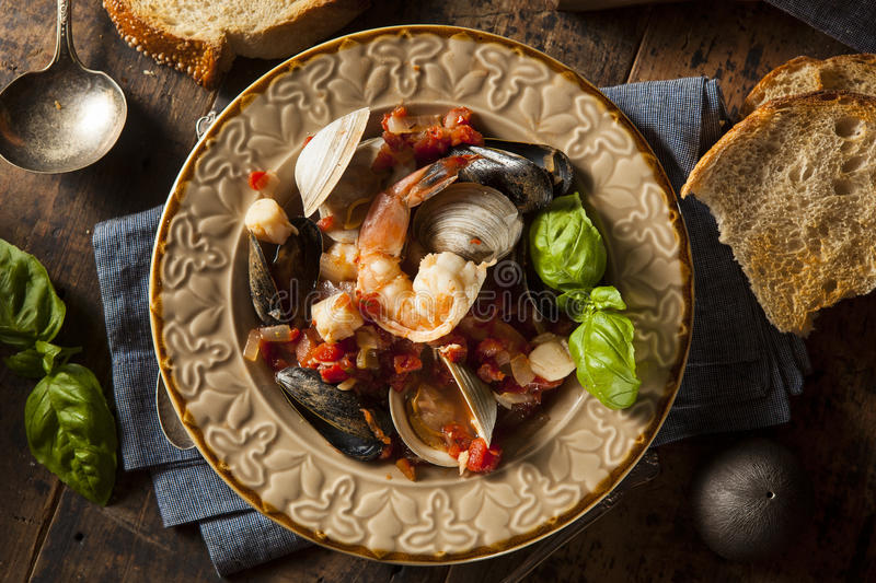 Homemade Italian Seafood Cioppino. With Mussels, Clams, and Shrimps royalty free stock images