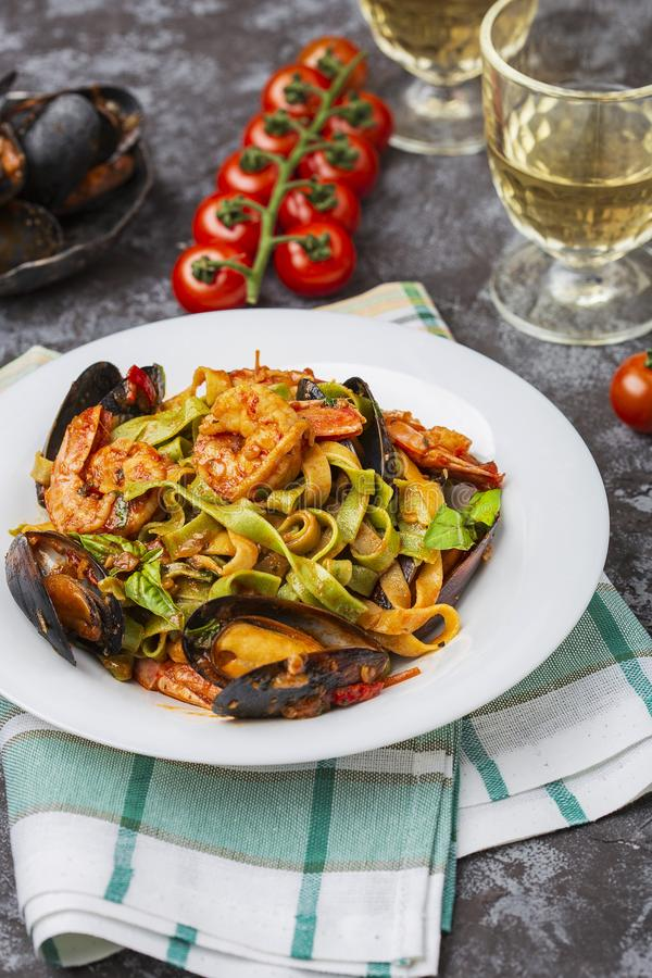 Homemade Italian Seafood Pasta with Mussels and Shrimp. Homemade Italian Seafood Pasta tagliatelle with Mussels and Shrimp stock photos