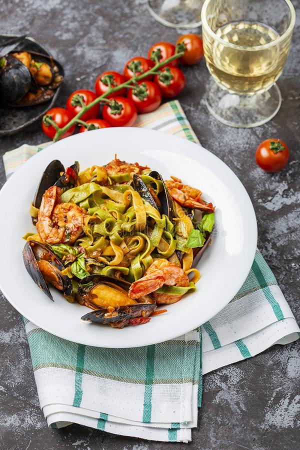 Homemade Italian Seafood Pasta with Mussels and Shrimp. Homemade Italian Seafood Pasta tagliatelle with Mussels and Shrimp royalty free stock photo