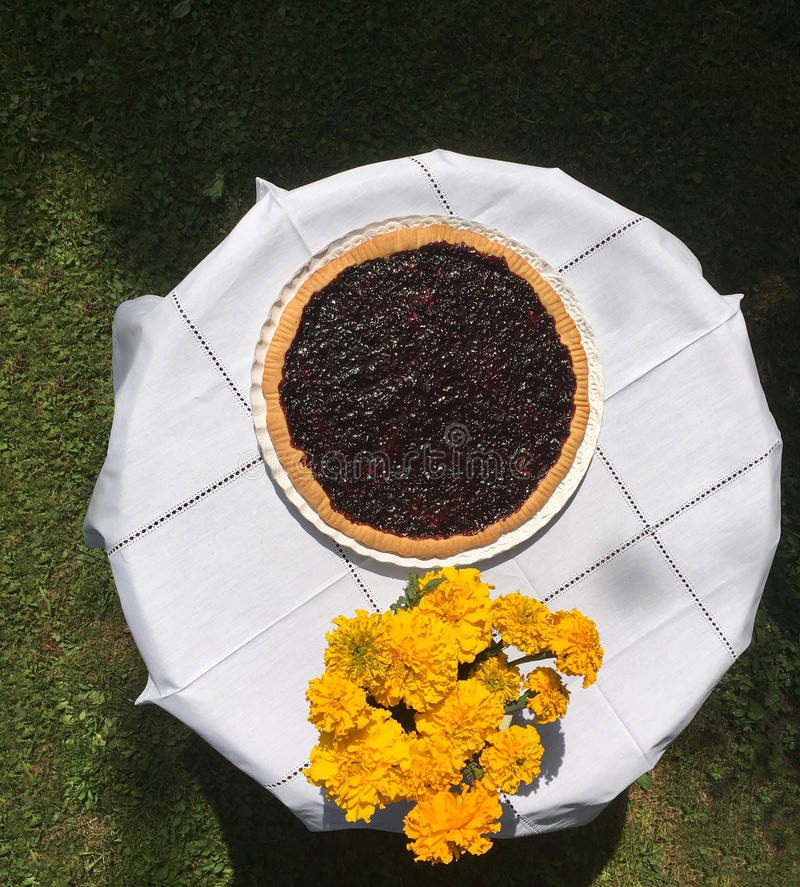 Homemade jam tart on a garden table with bouquet of flowers royalty free stock photos