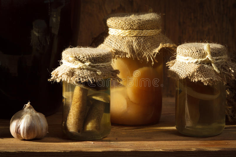 Homemade jar with vegetables royalty free stock image