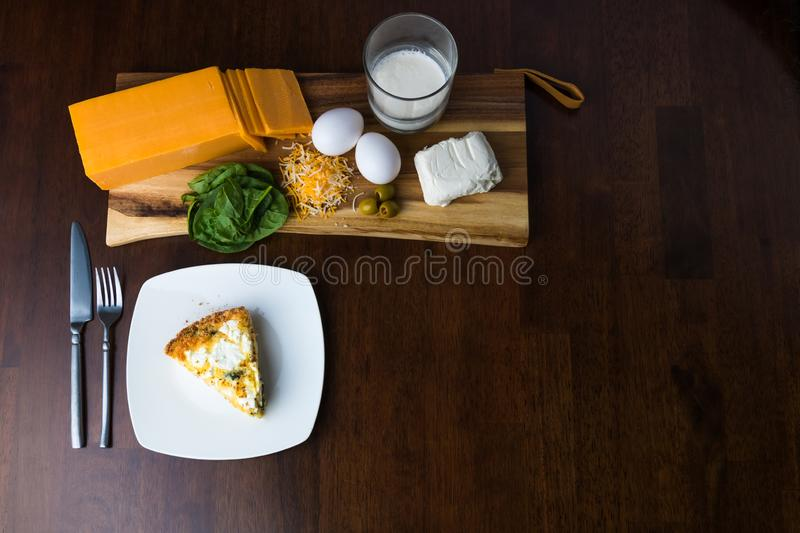 Homemade keto goat cheese and spinach pie. Wide above angle view stock photos