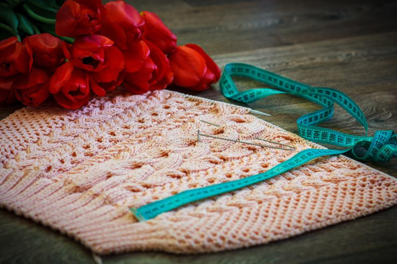 Homemade knitting pink pullover. With needles and tulips for decoration royalty free stock image