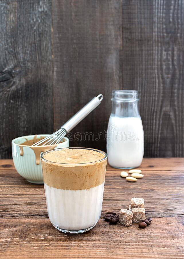 Homemade Korean Whipping Coffee Drink Dalgona From Almond ...