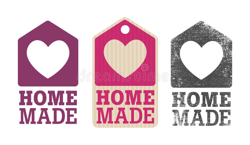 Homemade label. With house and heart stock illustration