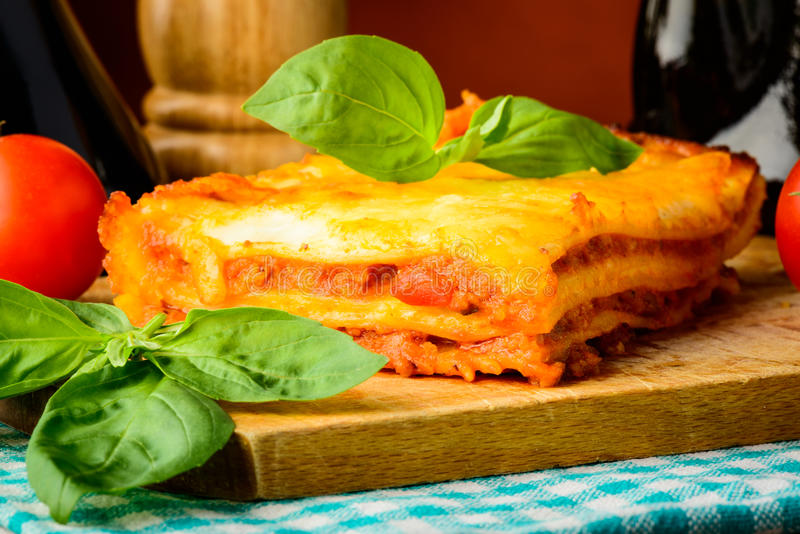 Homemade lasagna meal stock images