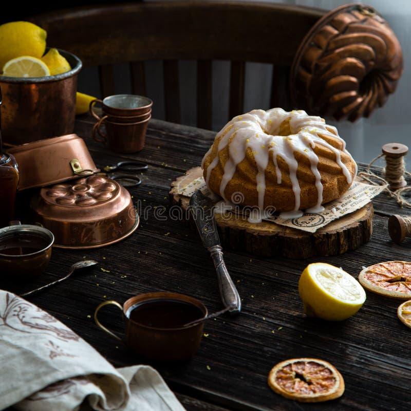 Homemade lemon bundt cake stock image