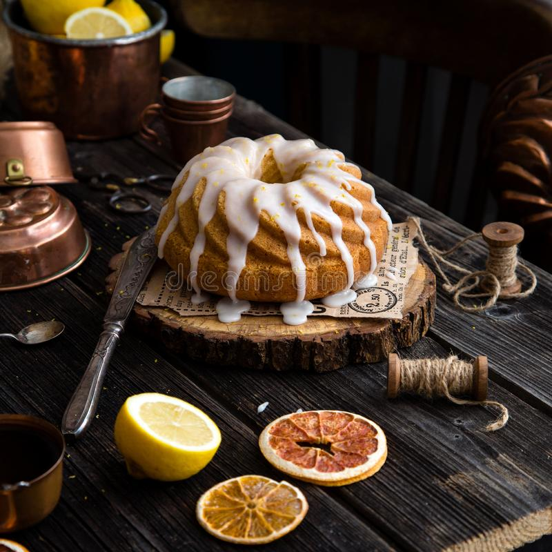 Homemade lemon bundt cake stock photos