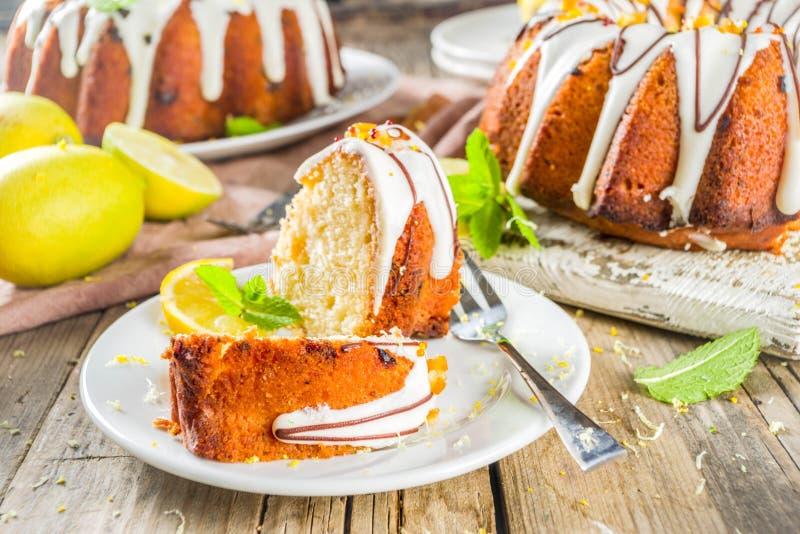 Homemade lemon bundt cake royalty free stock image