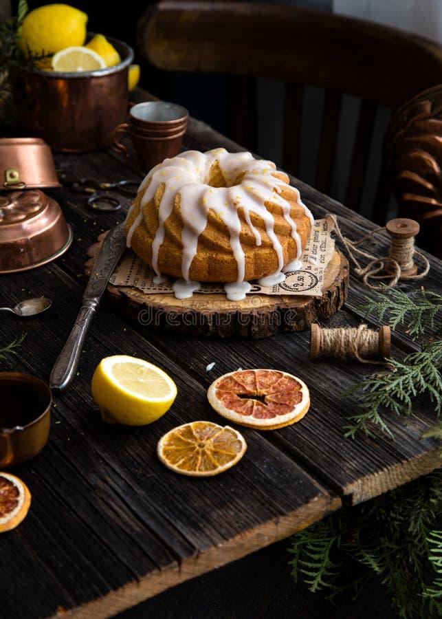 Homemade lemon bundt cake royalty free stock photography