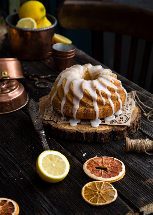 Homemade lemon bundt cake stock photo