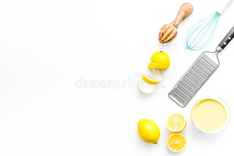 Homemade lemon curd cooking on white background top view mock up royalty free stock images