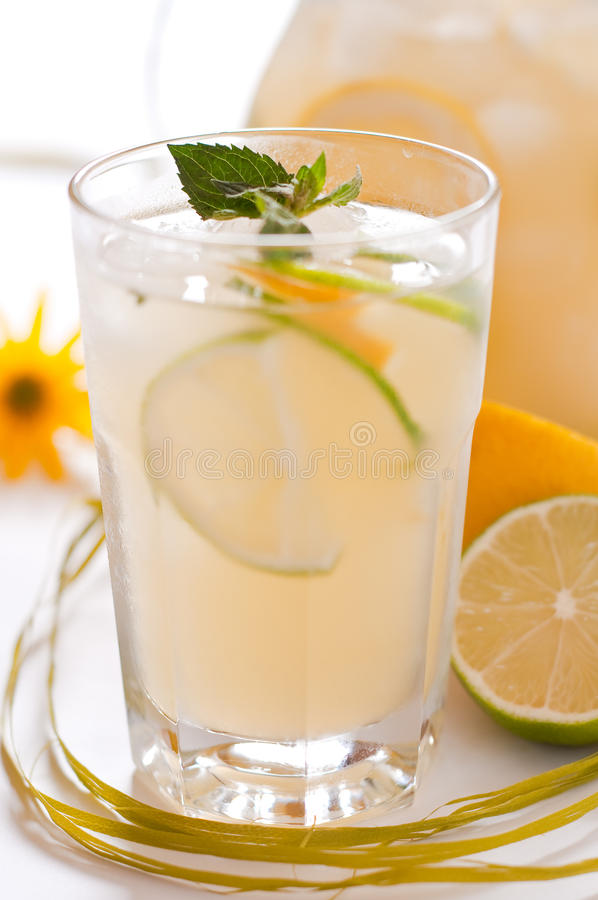 Homemade lemonade. Fresh homemade lemonade with mint stock photography