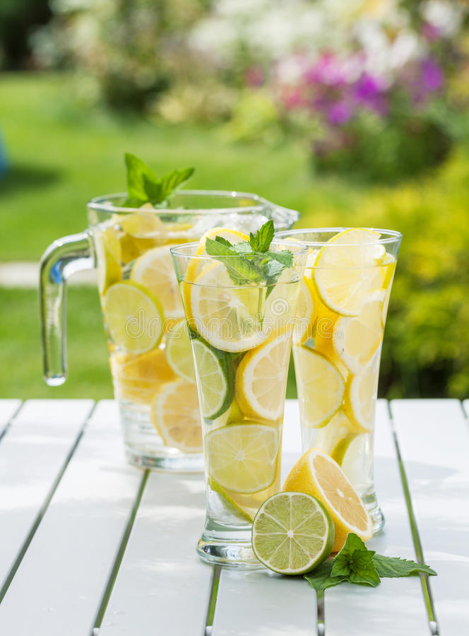 Homemade lemonade. With fresh citruses stock photography