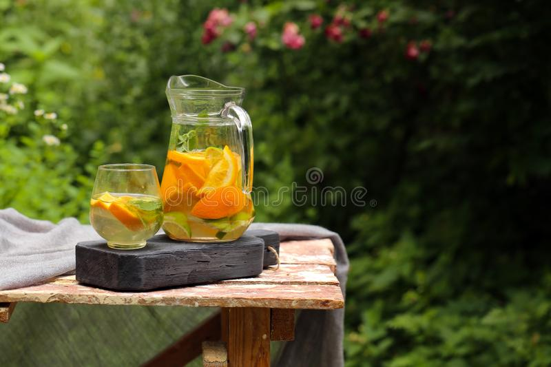 Homemade lemonade in a jug. For a picnic royalty free stock photo