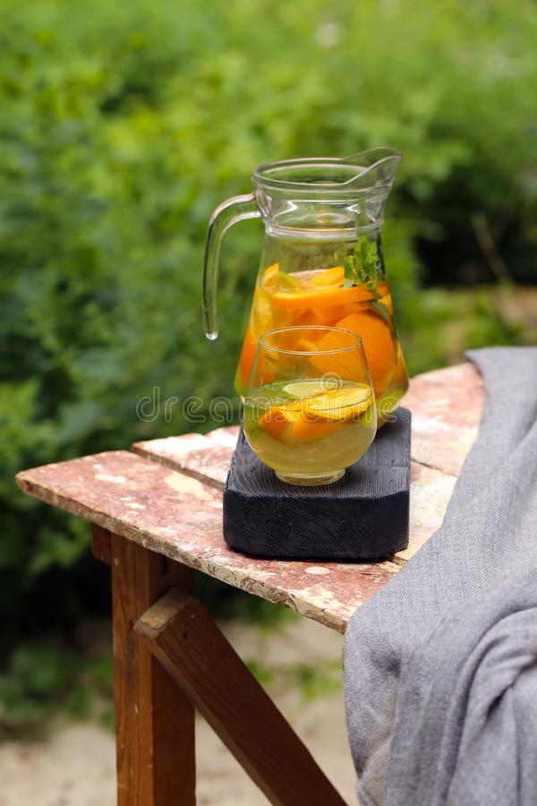 Homemade lemonade in a jug. For a picnic stock photos