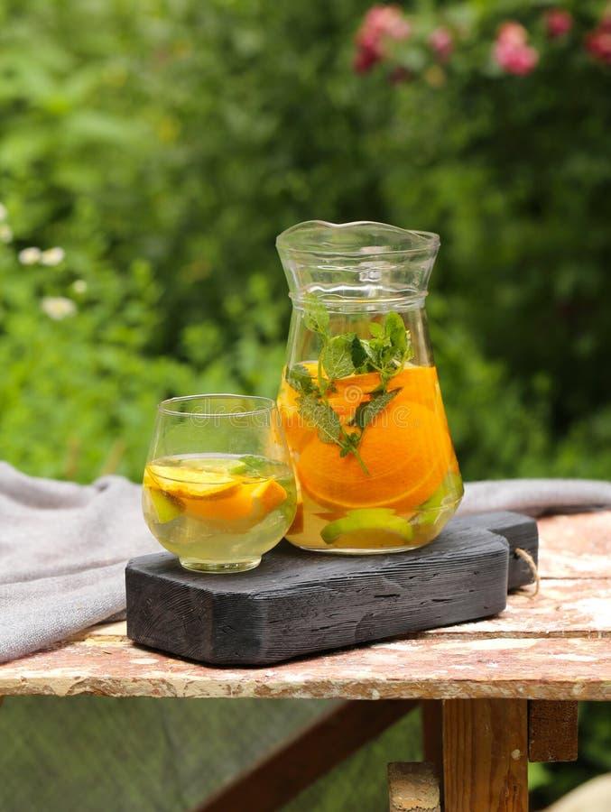 Homemade lemonade in a jug. For a picnic royalty free stock photos