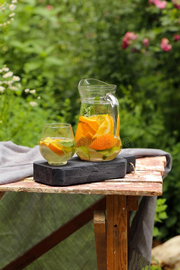 Homemade lemonade in a jug. For a picnic royalty free stock photography
