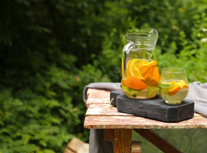 Homemade lemonade in a jug. For a picnic stock image