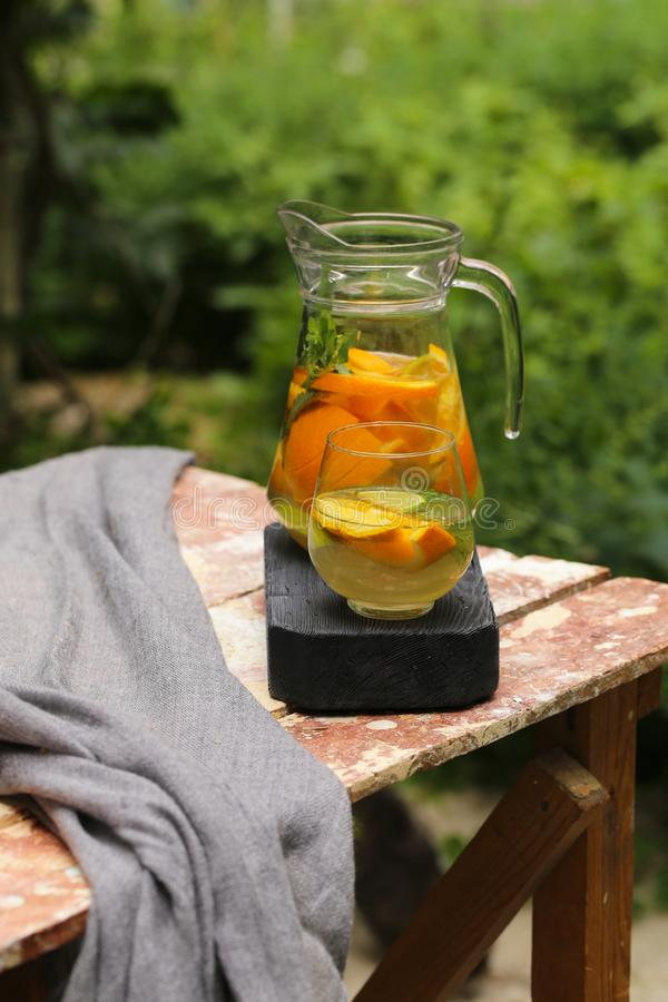 Homemade lemonade in a jug. For a picnic stock photography