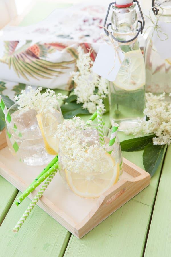 Homemade lemonade made from elderberry royalty free stock photo