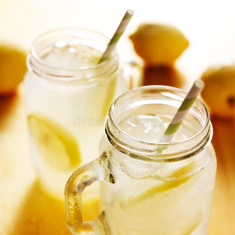 Homemade lemonade in mason jars. Close up photo royalty free stock images