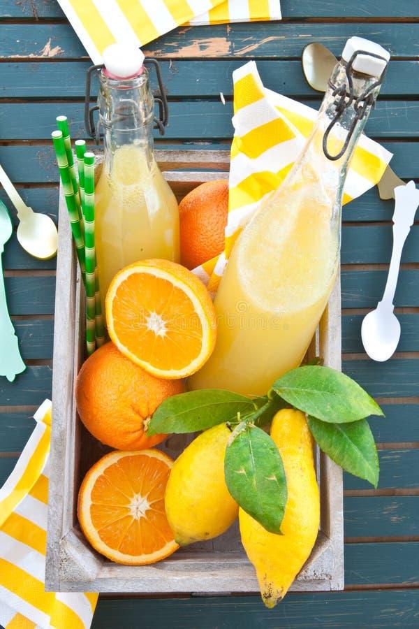 Homemade lemonade. From organic lemons and oranges royalty free stock photo