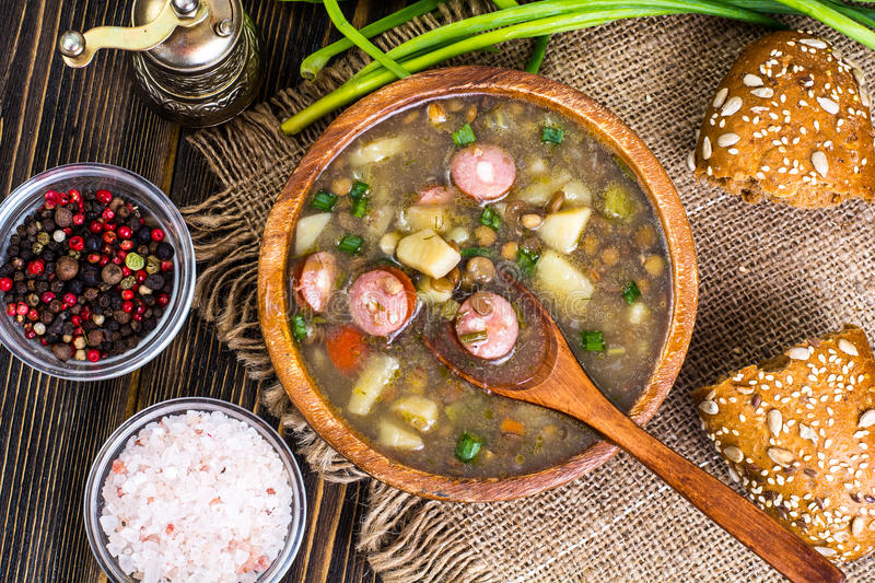 Homemade lentil soup with cabbage stock photography