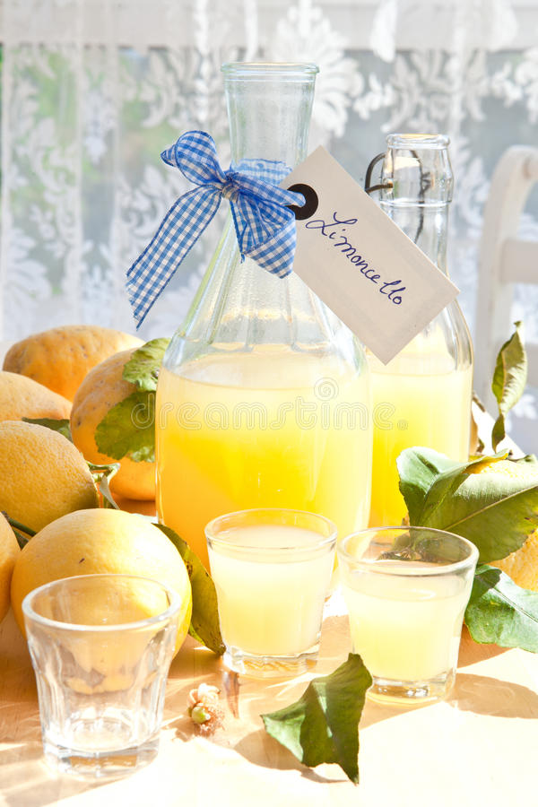 Homemade Limoncello stock images