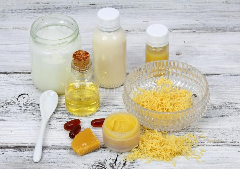 Download Homemade Lip Balm Made From Olive And Coconut Oil Shea Butter With Beeswax Stock