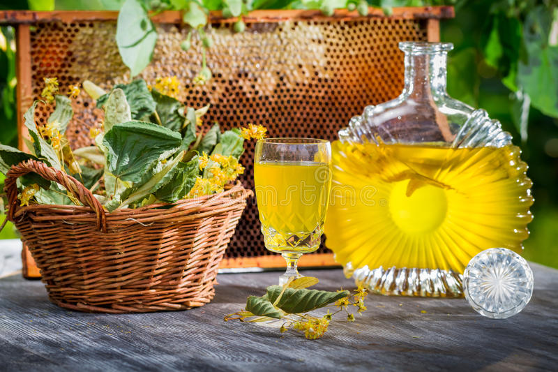 Homemade liqueur with lime and honey stock photo