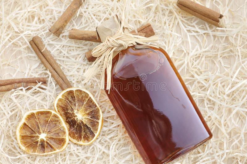 Homemade liqueur with spices. Still life stock images