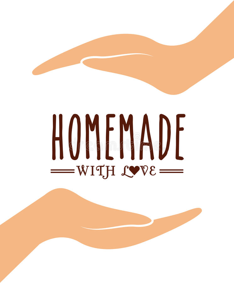 Homemade with love design. Human hands icon over white background. homemade with love concept. colorful design. vector illustration vector illustration