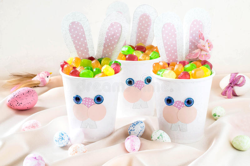 Homemade making of boxes for sweets in form of Easter hare. Step royalty free stock photos