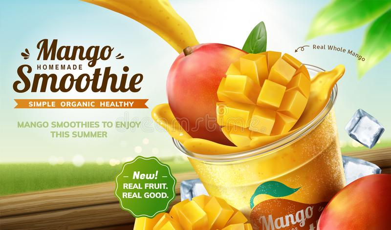 Homemade mango smoothie ads. Homemade mango smoothie pouring into takeaway cup with fresh fruit and ice cubes on bokeh nature background in 3d illustration vector illustration