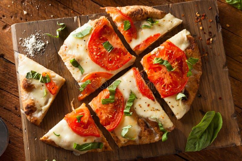 Download Homemade Margarita Flatbread Pizza Stock Image