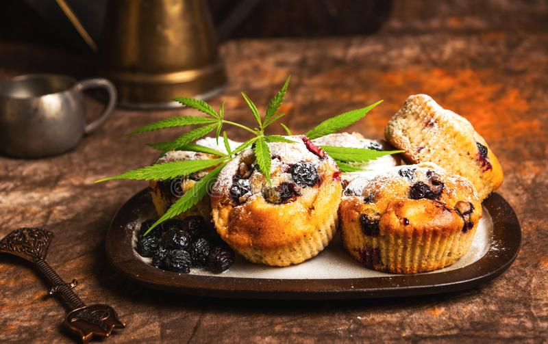 Homemade marijuana muffins with berry fruit. S, cannabis, rustic, hemp, aronia, chokeberry, dessert, bread, cake, snack, legalized, blueberry, healthy, food stock photo