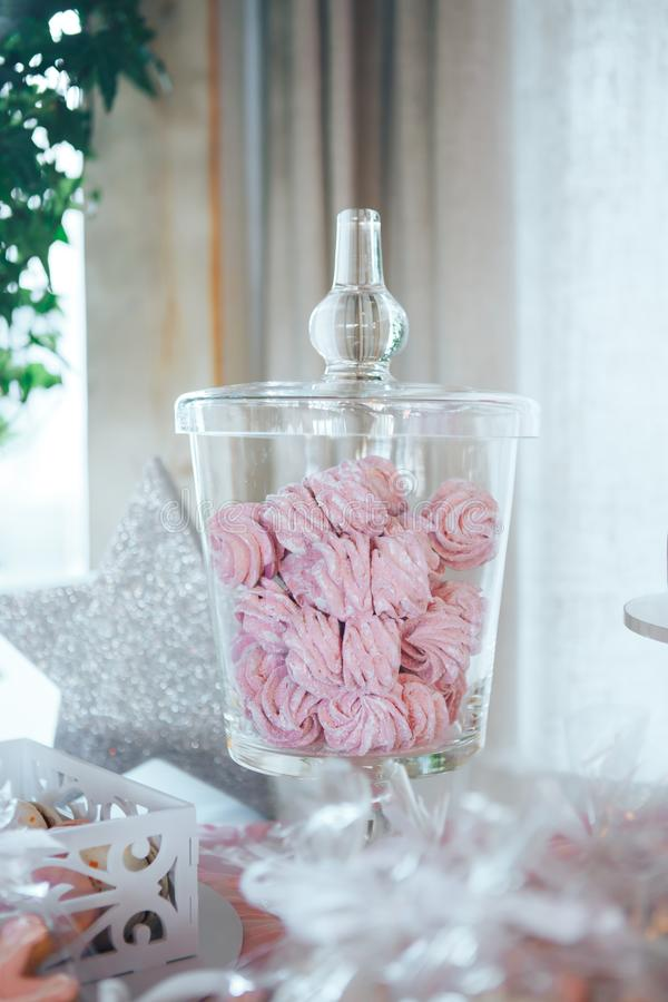 Homemade marshmallows in Glass Jar. Pink marshmallows. Homemade sweets stock photos