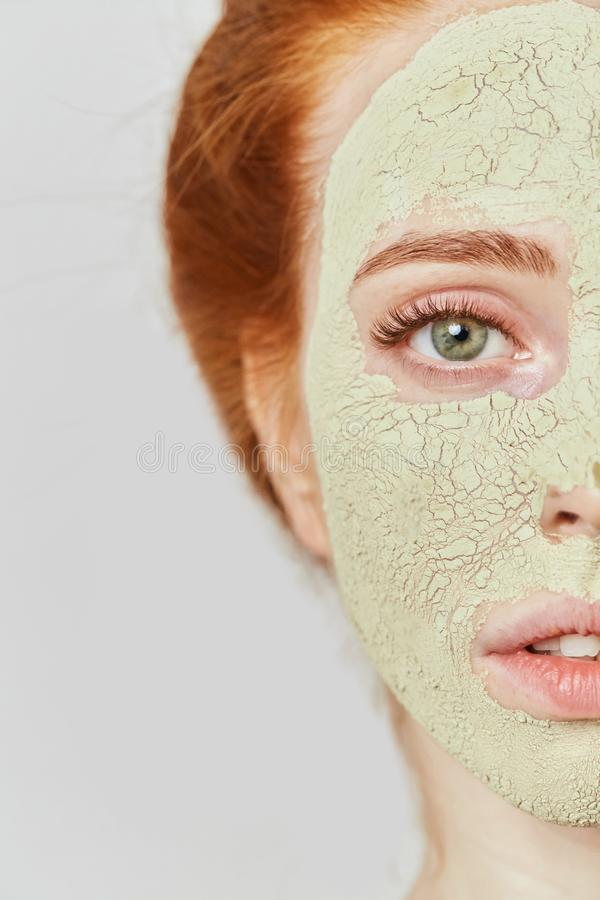 Homemade mask for face from avocado. Scin, face, body and health care . close up cropped photo stock image