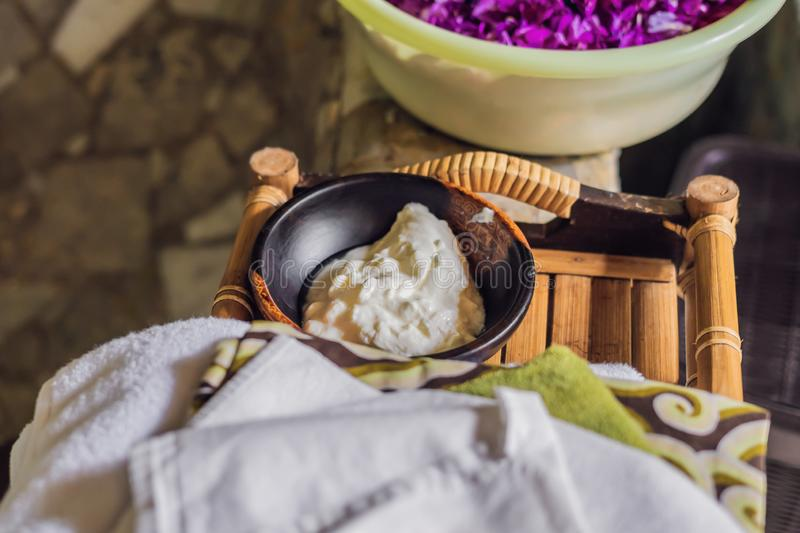 Homemade mask made of sour cream greek yogurt and olive oil. Diy cosmetics. Yogurt for spa treatments Lifestyle royalty free stock images