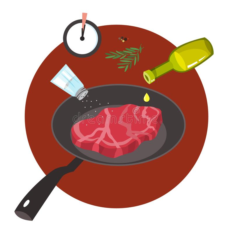 Homemade meat food for lunch or dinner. Tasty delicious. Beef slice. Cooking process on frying pan. Isolated vector illustration in cartoon style stock illustration