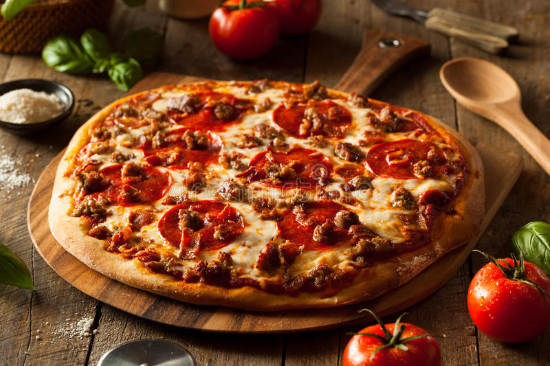 Download Homemade Meat Loves Pizza stock photo. Image of meal - 57421246