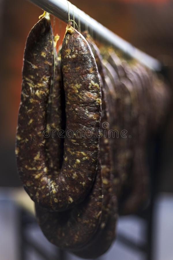 Homemade meat product. Traditional meat production in Southeastern Europe stock photos